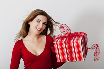 Woman with a big present
