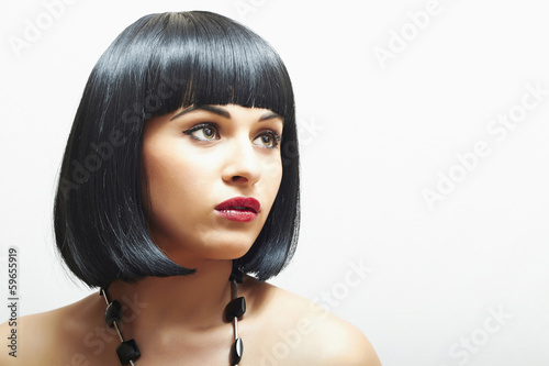 Retro Beautiful Brunette Girl.bob Haircut.red lips.beauty woman