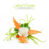 Decorative white flower carved from vegetable