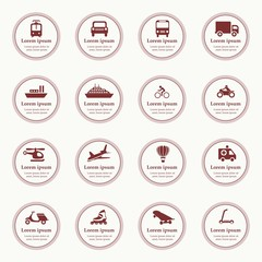 Transportation icons design elements with text