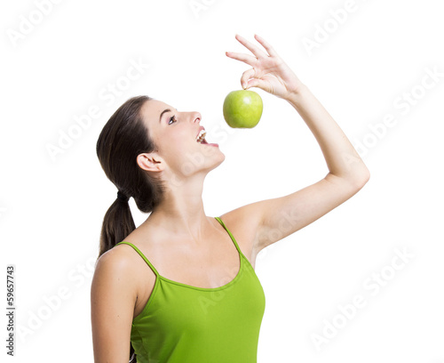 Healthy woman with apples