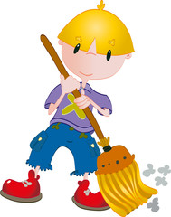Boy clean with broom