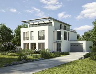 Modernes Wohnhaus weiß