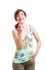 Happy woman with a apple