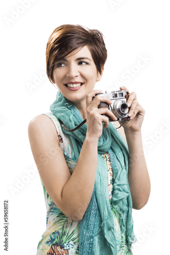 Woman with a vintage camera