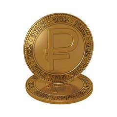 Золотой денежный знак с новым символом рубля на белом фоне