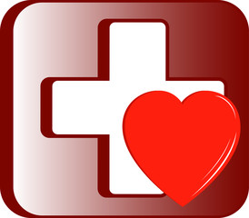 medical first aid kit icon with cross and heart