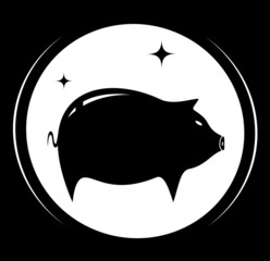 black background with pig icon - meat food symbol