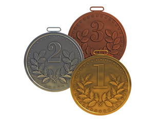 Gold, silver and bronze medals for prizes