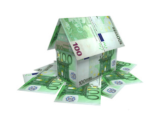 The house, built of 100 euro banknotes