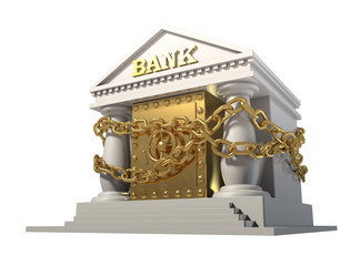 Bank safe with gold linked chain