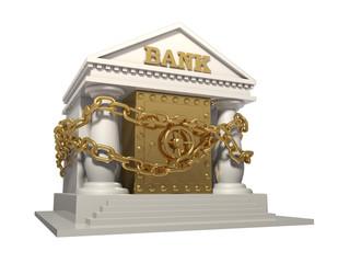 Банк с сейфом, опутанный цепью для надежности