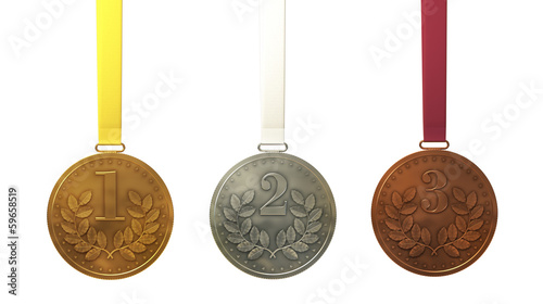Gold, silver and bronze medals at the colored ribbons