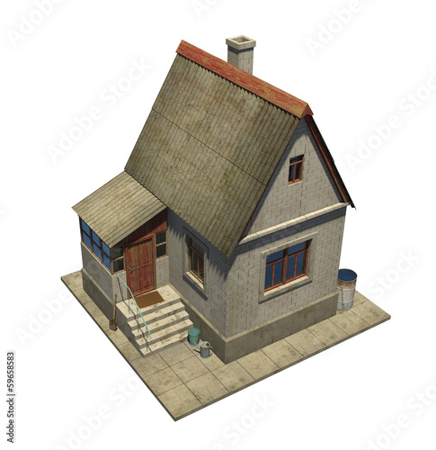 Top view of a small country house