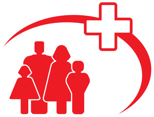 red symbol - medical cross with family