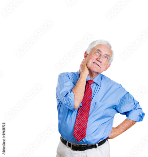Old business man having neck, back pain
