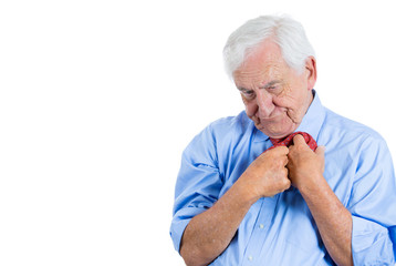 Stressed, anxious, scared old man fumbling with his tie