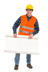 Engineer in glasses holds paper roll.