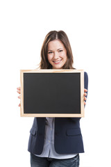 Business woman holding a chalkboard