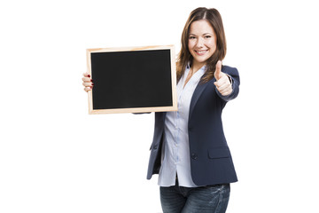 Business woman holding a chalkboard