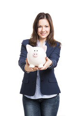 Business woman showing a piggy bank