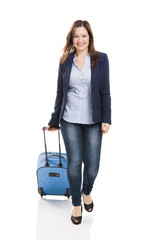 Business woman carrying a suitcase