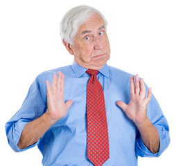 Shocked, surprised, puzzled old business man in denial