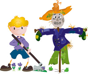Boy and scarecrow