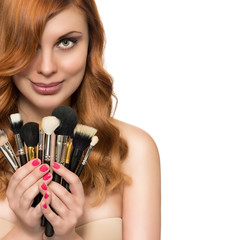 Beautiful woman and beauty hairstyle with brush for makeup