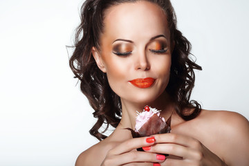 Gourmet. Woman Holding Unhealthy Food - Appetizing Muffin