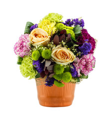 Bouquet of flowers in flower pot