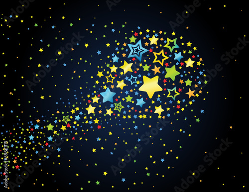 Cartoon star colored comet