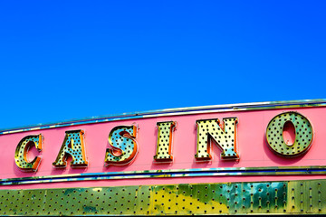 Casino sign over blue sky