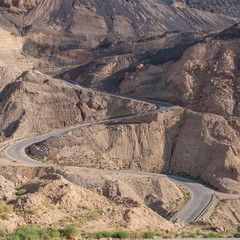 Mountain road with hairpin bends, Jordan