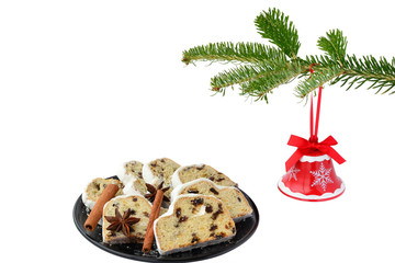 Christmas stollen and jingle bell