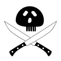 Totenkopf über gekreuzten Klingen