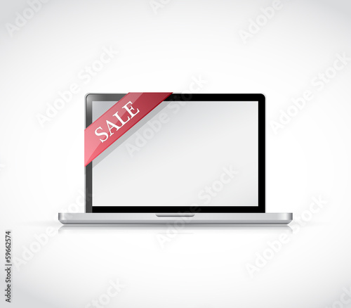 laptop and sale tag illustration