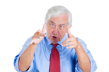 Angry old man, boss screaming, yelling at someone