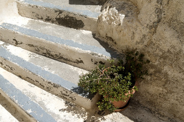 Stone stairs in Kamari on the island of Santorini in Greece.