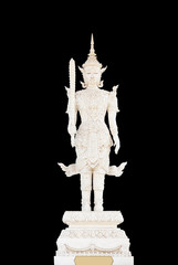 White angel statue in Thai style on black background