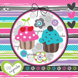floral and colorful cupcake vector illustration