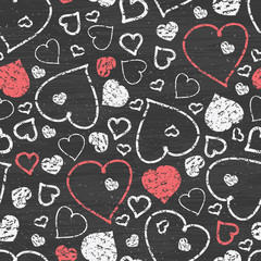 Vector chalkboard art hearts seamless pattern background with