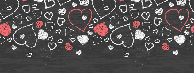 Vector chalkboard art hearts horizontal border seamless pattern