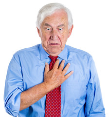 Elderly executive man having sudden chest pain