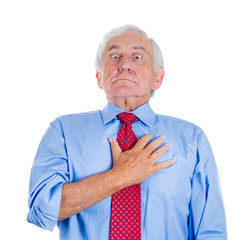 Old man having sudden chest pain, heart attack