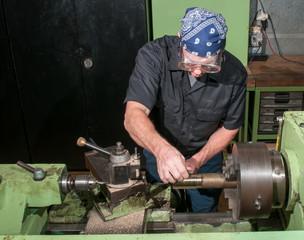 Hard at work in a machine shop.
