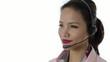 Asian girl working as call center operator