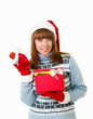girl in Santa Claus clothes with gifts