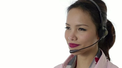 Asian girl working as call center operator
