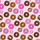 Fototapety Seamless vector pattern of assorted doughnuts with different top